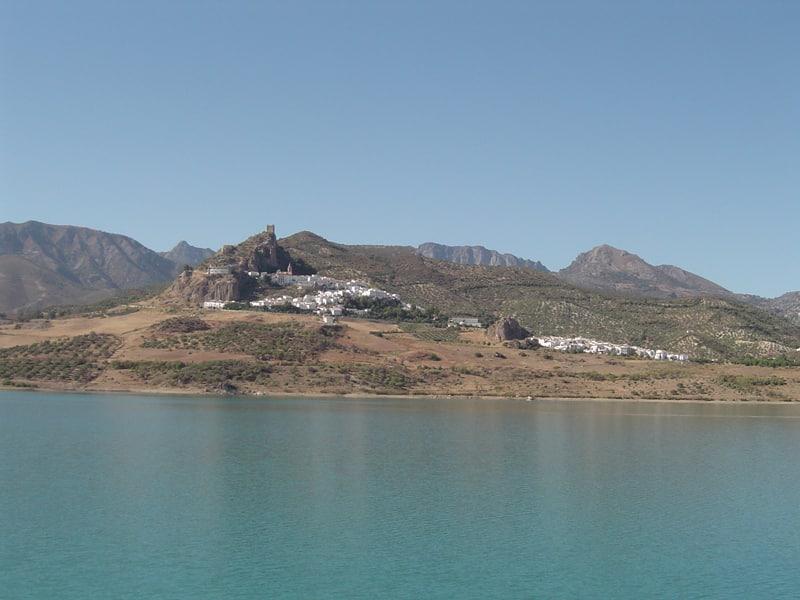 View of the white town Zahara de la Sierra