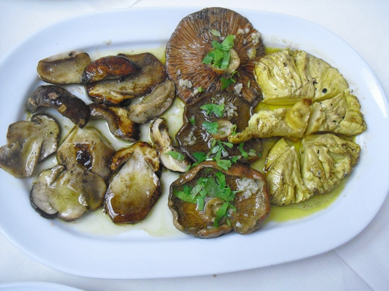 A plate of wild mushrooms
