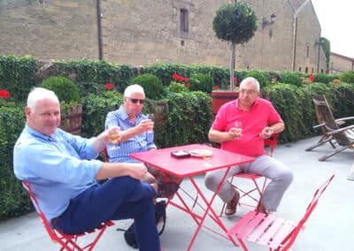 Wine tasting outside Bodegas Lopez de Heredia on customised wine tours