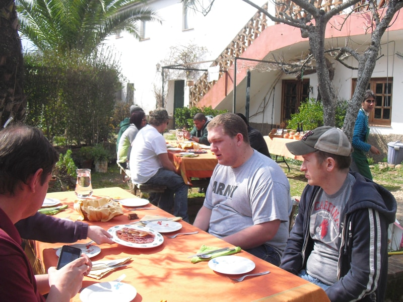 Sitting outside for lunch at an organic iberico pig farm