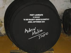 A sherry butt that has been signed by the Britisuh poet laureate