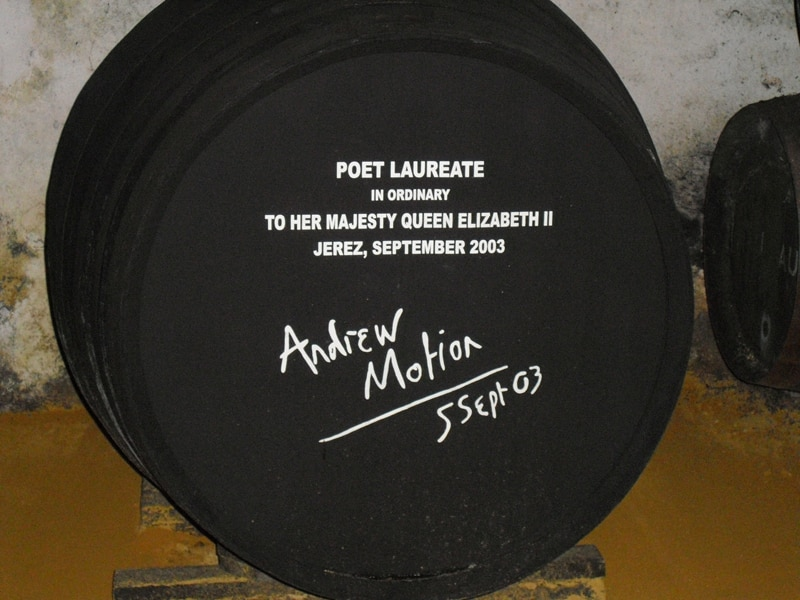 A sherry cask that has been signed by the British poet laureate