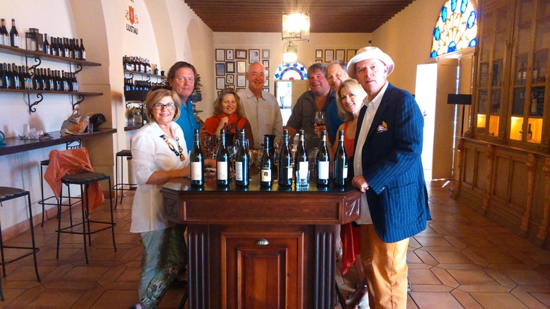 Wine tasting group at a winery in Jerez