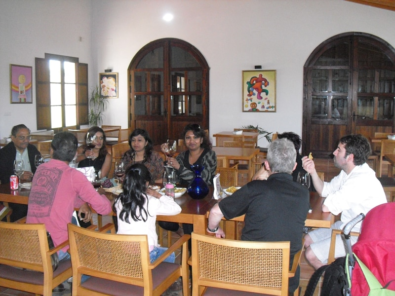 A group tasting wine at a winery near Arcos de la Frontera on our wine tour