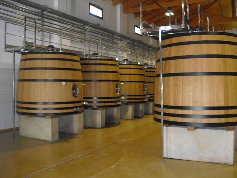 Interior of a winery wooden fermaentation vats
