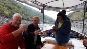 tasting wine on boat on River Sil